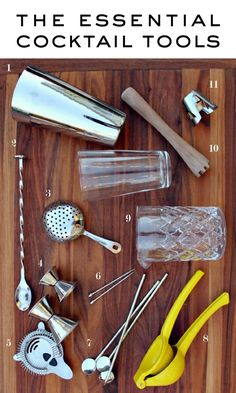 The Essential Cocktail Tools via Mint Love Social Club