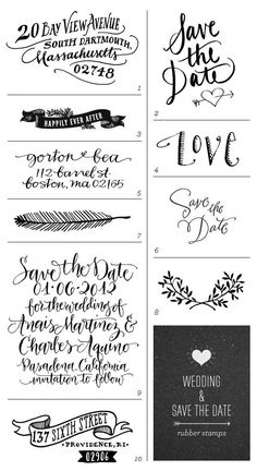 Wedding + Save the Date Rubber Stamps Great hand done type for invites.