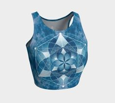 Elements of water geometric flower design crop top is perfect for your yoga session, the beach or dancing. Printed crop tops pair with our yoga leggings and shorts.