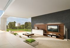 Modern Living Room With Sofa And TV corner. This would be an excellent place to put a LEET... www.steigerdynamics.com