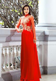 Vietnamese Wedding Dress, Vietnamese Dress, Ao Dai Wedding, Red Wedding, Wedding Stuff, Wedding Ideas, Pastel Wedding Dresses, Bridesmaid Dresses, Stylish Dresses