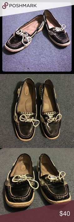 Black and White patterned Sperry's; size 8.5 Black and white pattern Sperrys, with a black bass, tan souls with silver rope/ string looping through the holes. Worn a few times. It still in amazing condition. Extremely comfortable, plus they can go with pretty much any casual outfit Sperry Top-Sider Shoes Flats & Loafers