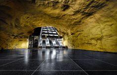 Emptyness by Alexander Dragunov. Akalla metro station in Stockholm, Sweden Stockholm Metro, Stockholm Sweden, Photo Walk, Metro Station, Architecture Photo, Futuristic, Cool Art, Nice Art, Tours