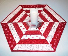Hexagon Quilted Table Runner Valentines Day by QuiltSewPieceful