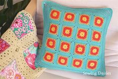 Nacho Cushion by Sewing Daisies. The pattern for the square is motif 113 from Beyond the Squares by Edie Eckman. Instructions for the joining and the border in the post.