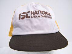 1st NATIONAL BANK CARBONDALE 80s 1980s HIPSTER CAP SWAG BASEBALL TRUCKER CAP HAT #BaseballCap