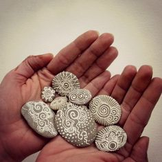 celestial painted pebbles by OurFolkLife on Etsy,