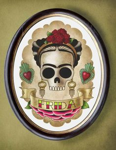 Frida skull girl 8x10 print flash tattoo imagery. $25.00, via Etsy.
