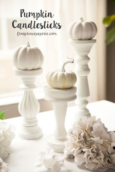 Recycle old home decor for your fall decorations to make these darling pumpkin candlesticks! Holidays Halloween, Halloween Crafts, Diy Halloween Decorations, Fall Decorations, Mason Jar Lanterns, Diy Home Decor Projects, Decor Ideas, Craft Ideas, Pumpkin Decorating