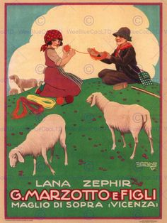 WOOL SHEEP MARZOTTO FIGLI VICENZA ITALY VINTAGE RETRO ADVERTISING POSTER 1591PY