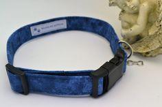 Unique Handmade Blue Print Dog Collar, Pet Supplies, Pet Accessories, Adjustable Pet Blue Print Collar by HaleysPetBoutique on Etsy