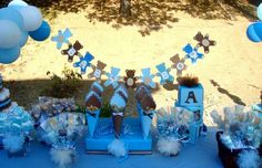 Blue and brown teddy bears Baby Shower Party Ideas | Photo 24 of 26