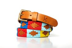 Polo leather belt argentinian leather belt embroidered by Kamyno