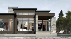 Adornetto Modern Bungalow House Design, Modern House Floor Plans, Bungalow House Plans, Modern Architecture House, Architecture Design, Modern Houses, Small Luxury Homes, Modern Cottage, Dream House Exterior