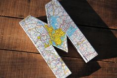 """Vintage Map Covered Letter - """"M"""" - Home Decor, East Coast, 3 Dimensional, Free Standing"""