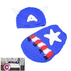 Department Name: Baby Pattern Type: Character Gender: Unisex Baby Age: 0-3 months,4-6 months,7-9 months,10-12 months Material: Cotton Strap Type: Adjustable Package Includes: Captain America Hat and c