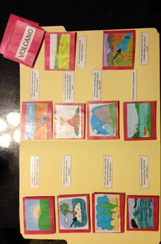 This is a geography workjob that I created for 3rd grade students that helps them learn about different  landforms. It is called the Landform Matching Game where the students turn over all the red cards with pictures and all the red cards with words and flip them over 2 at a time to find a match. Once the student finds a match they then match the picture card to the correct defintinon by placing it on the velcro.There is a self assessment on the back.
