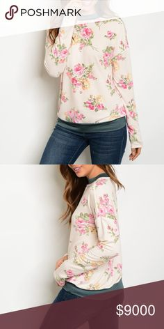 JUST IN! Floral Print Top Super soft light weight floral pull over featuring gray trim.   Fabric Content: 62% POLYESTER 33% RAYON 5% SPANDEX Tops Tees - Long Sleeve