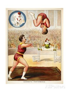 Acrobatic Performance'. Acrobats and a Clown Performing in the Circus Ring Giclee Print at AllPosters.com