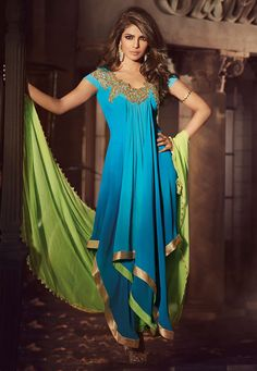 Shaded Blue Faux Georgette Asymmetric Churidar Kameez Online Shopping: KWY821