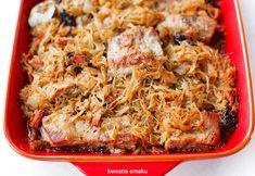 Żeberka w kiszonej kapuście Polish Recipes, Lasagna, Quiche, Pork, Food And Drink, Diet, Meals, Cooking, Breakfast