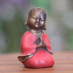 Novica Handmade Bronze 'Praying Little Buddha' Statuette (Indonesia) (Solid), Red