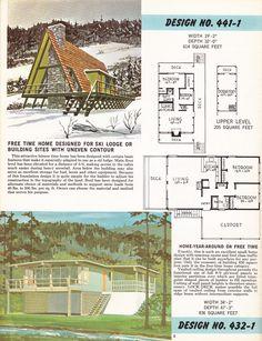 1962 Home Building Plan Service A Frame House Plans, A Frame Cabin, House Floor Plans, Tiny House Cabin, Cabin Homes, Cabins In The Woods, House In The Woods, Triangle House, Vintage House Plans