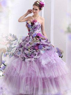 カラードレス プリンセスライン ビスチェ フロア チュール ウェディングドレス B30006