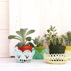 DIY doily pot-plant cups