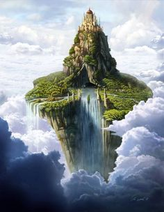 Floating Mountain & Castle. the land, lakes & rivers have yet be explored by humans, and is thought to be a made up story for young children