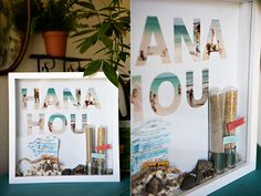Shadowboxes of vacations, using photos cut in the shape of letters. I want to do this with places we have lived, if I can find a wall big enough for all of them!