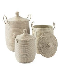 These lidded baskets give storage a beachy spin, with strips of recycled plastic wrapped around coils of neutral seagrass. Use it to store everything from toys to craft supplies, linens to laundry. Because each basket is crafted by hand, no two will be ex Driven By Decor, Market Baskets, Decoration Design, Home Decoration, La Jolla, Decorating Your Home, Interior Decorating, Decorating Ideas, Decor Ideas