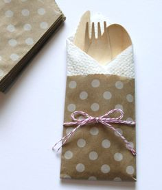 10 Silverware Flatware Bags w/ Wood Wooden Utensils Table Setting Cutlery Rustic Wedding Birthday Party Baby Shower Favors  Cake Dots. $12.99, via Etsy.