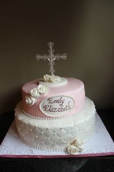 Communion Cake with Roses