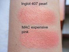 MAC- expensive pink eyeshadow, inglot-407 dupe