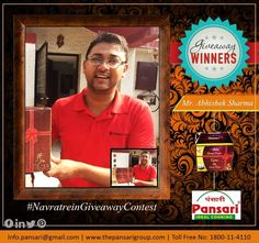 Happy Customers! Happy Us! Here's congratulating our winner Mr. Abhishek Sharma for the #NavratreinGiveaway Contest. #Pansari #Giftpack #festival