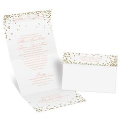 Easily personalized and shipped in a snap! Check out this all-in-one wedding invitation from Invitations by Dawn featuring polka dots in gold faux foil.