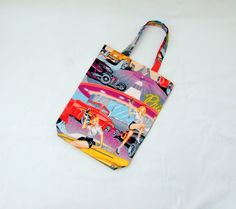 50s America bag, 50s USA Kitsch, drive in diner, Alexander Henry, hot rod fabric, tattoo fabric, reversible tote bag, roller skate pin ups by Kitschosaurus on Etsy