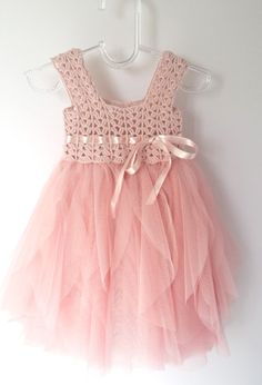 Blush  Pink Baby Tulle Dress with Empire Waist and Stretch Crochet Top.Tulle…