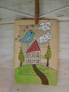 old Book - pen and ink illustration. would be cute if I let the kids watercolor and then frame them . Book Page Art, Old Book Pages, Book Art, Book Crafts, Arts And Crafts, Paper Crafts, Altered Books, Altered Art, Kids Watercolor