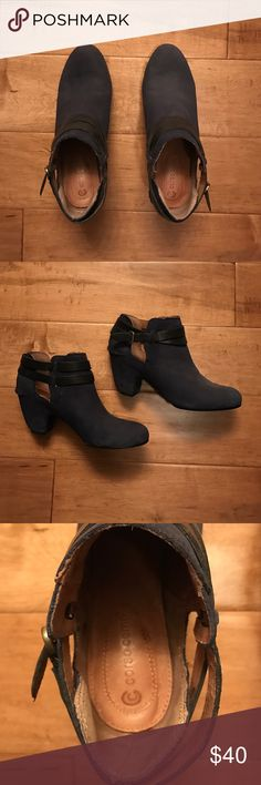 Corso Como Navy & Black Booties Super soft padded leather bottoms. Navy leather shoe body, black leather straps. By Corso Como. In good condition. These boots help tie together your navy and black outfit combo perfectly! Corso Como Shoes Ankle Boots & Booties