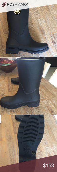 New In Box Tory Burch Maureen Rain Bootie New In Box Tory Burch Maureen Rain Bootie Rubber/Veg Leather Black Size 9 Tory Burch Shoes Winter & Rain Boots