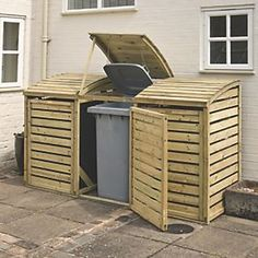 Keep your bins accessible but out of sight with the Rowlinson Triple Bin Store. The bin store has a natural timber finish, which can be painted or stain. Triple Wheelie Bin Storage, Bin Storage Ideas Wheelie, Shed Storage Ideas Uk, Triple Bin Store, Bin Store Garden, Bin Shed, Log Store, Bike Store, Store 3