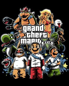 Grand Theft Mario T-Shirt $10 Super Mario Bros tee at ShirtPunch today only!