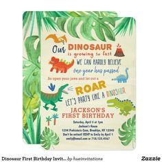 Shop Dinosaur First Birthday Invitations Dinosaur Party created by hueinvitations. Dinosaur First Birthday, Boys First Birthday Party Ideas, 1st Boy Birthday, Boy Birthday Parties, 1st Birthday Party Invitations, Birthday Cakes, Invites, Dinosaur Party Invitations, Dinosaur Party Decorations