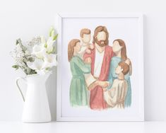LDS decor, watercolor portraits and more! by CastelArts Watercolor Portraits, Watercolor Print, Watercolor Paintings, Watercolor Pictures, Watercolours, Easy Paintings, Beautiful Paintings, Jesus Christ Painting, Pictures Of Christ