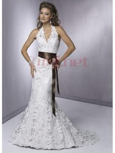$283.68Amazing Satin Lace  V-Neck Mermaid Wedding Gown #With #Sash #Hollow