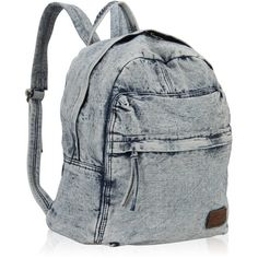 Hynes Eagle Unisex Cool Denim Backpack Jeans School Rucksack 20 Liter ($30) ❤ liked on Polyvore featuring bags, backpacks, unisex bags, rucksack bags, eagle bags, eagles backpack and navy blue bag