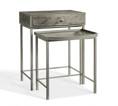 "Woodrow Metal Nesting Bedside Tables, Set of 2 Nightstand Antique Nickel Small: 20.75"" wide x 16.5"" deep x 23.5"" high Large: 24"" wide x 18"" deep x 30"" high Crafted of iron. $499"