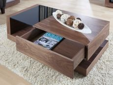 Jual Cube Walnut & Black Glass 1 Drawer Coffee Table